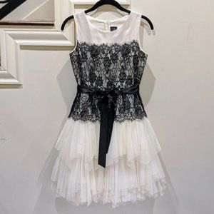 White Tulle and Black Lace Girls Dress